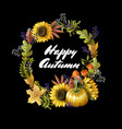 banner happy autumn with yellow leaves vector image vector image