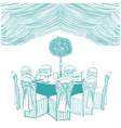 banquet table with chairs vector image