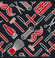 barber shop seamless pattern with thin line icons vector image vector image