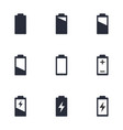 battery charge level icons battery life sign set vector image vector image