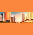 beautiful city on sunset panorama skyline high vector image vector image