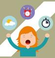 beautiful girl waking up and yawning vector image vector image