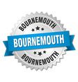 Bournemouth round silver badge with blue ribbon vector image vector image