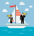 Business man and woman sailing and looking for vector image vector image