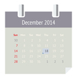 Calendar page for December 2014 vector image vector image