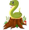 cartoon funny snake on tree stump vector image vector image