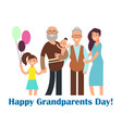 cartoon happy family with grandparents vector image vector image