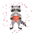 Cartoon raccoon holding valentine heart card vector image vector image