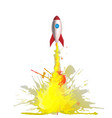 cartoon rocket with flames made colorful vector image vector image