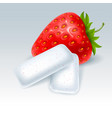 chewing gum with strawberry flavor vector image