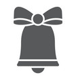christmas bell glyph icon xmas and design vector image vector image