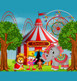 clown and many animal with circus tent vector image vector image