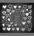 collection doodle sketch hearts hand drawn vector image