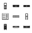 control equipment icons set simple style vector image