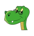 Cute dinosaur with glasses icon vector image
