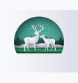 deer in forest with snow in the winter season vector image vector image