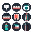 Dental theme flat icons vector image