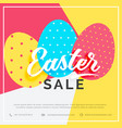 easter sale banner with colorful three eggs vector image