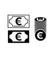 Euro banknote and coin simple black icon vector image