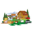 farm animals gathering in the farm land vector image vector image