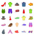 fashion things icons set cartoon style vector image vector image