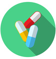 Flat design modern of medical pills icon with long vector image