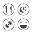 four pillars health healthcare icons set vector image
