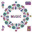 hand drawn music frame music doodle colorful vector image vector image