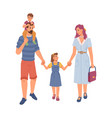 happy family mom and dad children flat cartoon vector image