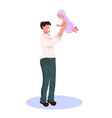 happy father holding newborn child man raising his vector image