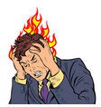 headache man heat and temperature vector image vector image