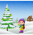 in the winter kids play in the snow very joyfully vector image vector image