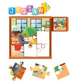 jigsaw puzzle pieces with boy cleaning floor vector image vector image