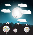 Landscape with Full Moon and Mountains vector image vector image