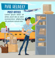 mail delivery service mailman and parcel vector image vector image