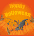 modern halloween card with old hat and pumpkins on vector image vector image