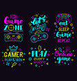 neon video game phrases online game console vector image