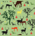 seamless pattern with deers and trees vector image vector image