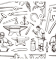 Seamless pattern with objects on blacksmith theme vector image vector image