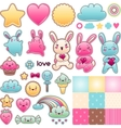 Set of decorative design elements with kawaii vector | Price: 1 Credit (USD $1)
