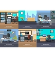 Set of Office Interior Web Banners in Flat Design vector image vector image