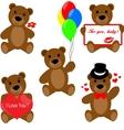 Set of Valentine teddy bears vector image vector image
