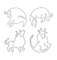 set ox and bull on white background chinese happy vector image vector image