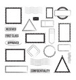 set postage stamps and postmarks graphic icons vector image vector image