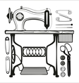 Sewing machine with sewing accessories set vector image
