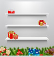 shelves with christmas gift box vector image vector image