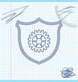 shield with gear line sketch icon isolated on vector image vector image