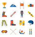 slalom icon collection set with equipment wear vector image