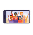 smartphone with teen friends displaying on screen vector image vector image