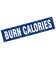 square grunge blue burn calories stamp vector image vector image